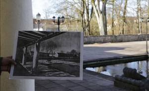 Foto Badr Alamahr - Fliegerhorst Penzing Terrrasse mit Bild aus Werner Rittich - Architektur und Bauplastik der Gegenwart